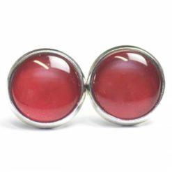 Druckknopf Ohrstecker Ohrhänger handbemalt Tobago Rot