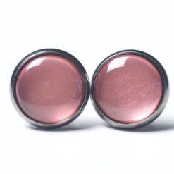 Druckknopf Ohrstecker Ohrhänger handbemalt rose rosa metallic