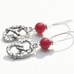 Brezel Ohrringe Rot/Weiß