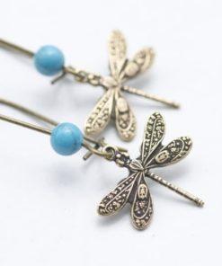 Zarte Libellen Ohrhänger mit türkiser Perlen