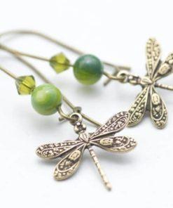Zarte Libellen Ohrhänger mit olive Grünen Perlen