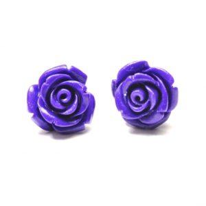 Große violette Rosen Ohrstecker - Edelstahl