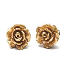Goldene Rosen Ohrstecker - 10mm - Edelstahl