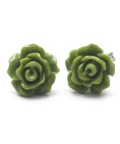 Oliv grüne Rosen Ohrstecker - 10mm - Edelstahl