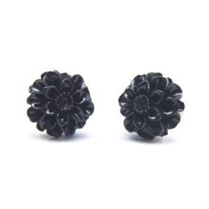 Schwarze Chrysanthemen Blumen Ohrstecker - 12mm - Edelstahl