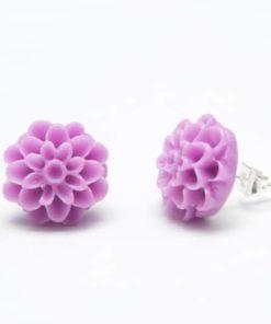 Lila Chrysanthemen  Blumen Ohrstecker - 12mm - Edelstahl