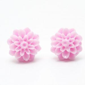 Rosa Chrysanthemen Blumen Ohrstecker - 12mm - Edelstahl