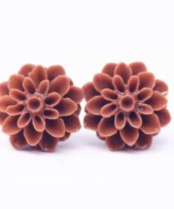 Braune Chrysanthemen Blumen Ohrstecker - 15mm - Edelstahl