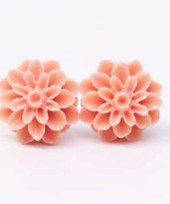 Pfirsich farben Chrysanthemen Blumen Ohrstecker - 15mm - Edelstahl