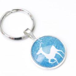 Schlüsselanhänger weihnachtlicher Rudi in Blau