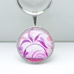 Schlüsselanhänger Lila/Rosa Blumenranke