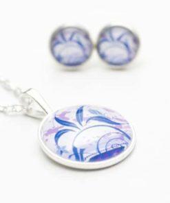 Set Kette mit Ohrringen lila/blaue Blumenranke