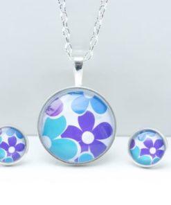 Schmuckset mit Flower Power Motiv in Blau und Türkis