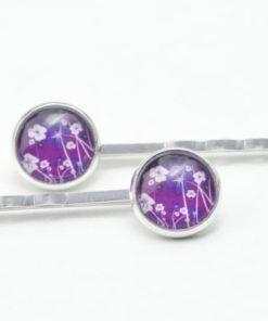 Haarspangen mit violettem Blumenwiesen Motiv