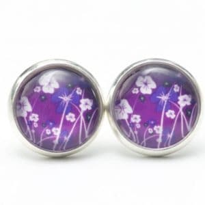 Druckknopf / Ohrstecker / Ohrhänger violette Blumenwiese