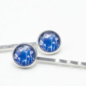 Haarspangen mit Blauem Blumenwiesen Motiv