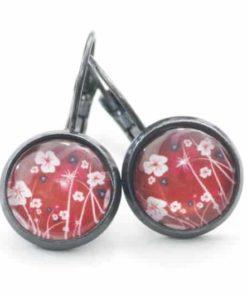 Druckknopf / Ohrstecker / Ohrhänger rote Blumenwiese