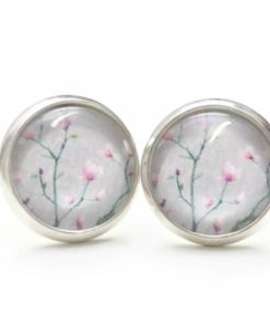 Druckknopf / Ohrstecker / Ohrhänger Kirschblüten in grau und rosa