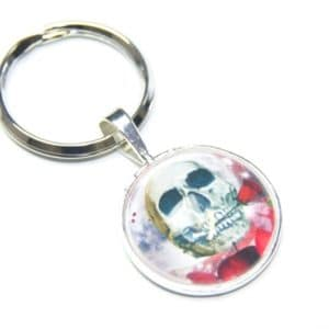 Schlüsselanhänger Totenkopf mit Rose