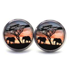 Druckknopf Ohrstecker Ohrhänger Elefanten am Abend