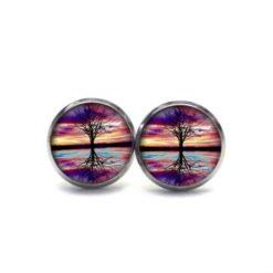 Druckknopf / Ohrstecker / Ohrhänger gespiegelter Regenbogen Baum