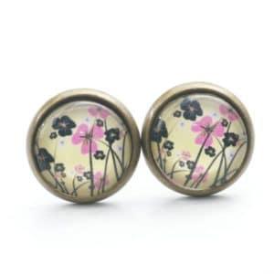 Druckknopf / Ohrstecker / Ohrhänger romantische Blumenwiese in Pink/Gelb