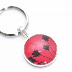 Schlüsselanhänger 3 Blümchen Rot/Schwarz