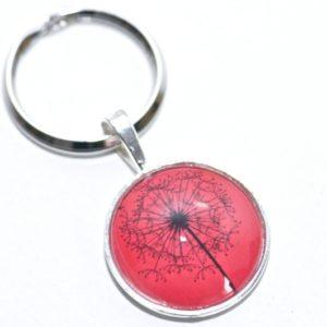 Schlüsselanhänger große Pusteblume in Rot/Schwarz