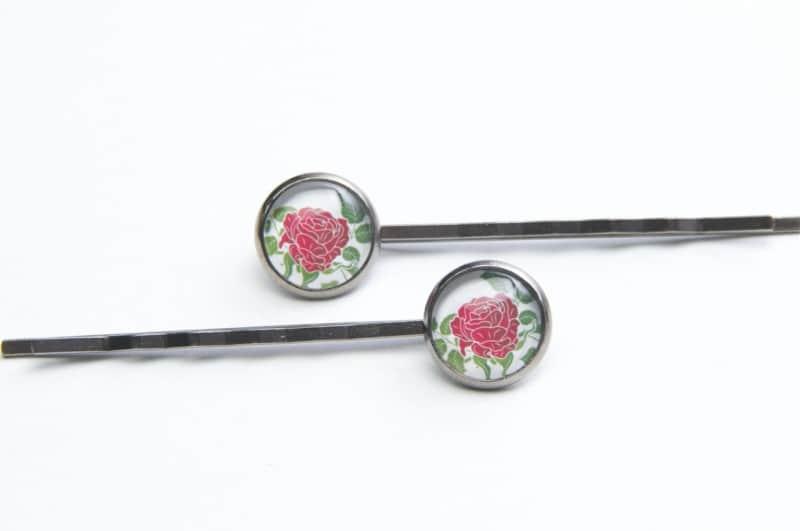 Haarspangen mit tollem Rosen Motiv