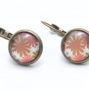 Druckknopf / Ohrstecker / Ohrhänger braun/rosa Blumen
