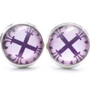 Druckknopf / Ohrstecker / Ohrhänger große violettes Kreuz