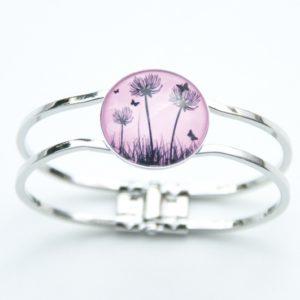 Armreifen mit rosa Pusteblumen Motiv