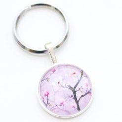 Schlüsselanhänger lila Kirschblüten
