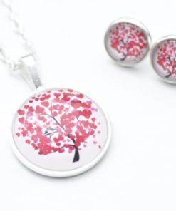 Set Kette mit Ohrringen Herzchenbaum