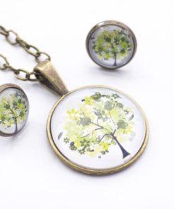 Set Kette mit Ohrringen grüner Baum