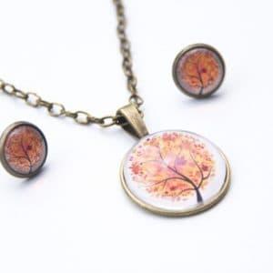 Set Kette mit Ohrringen orangener Baum