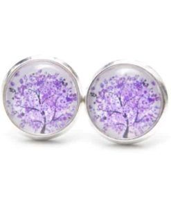 Druckknopf / Ohrstecker / Ohrhänger violetter Baum