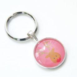 Schlüsselanhänger der Elch ist los in Rosa