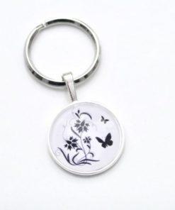 Schlüsselanhänger Schmetterling Wiese schwarz/weiss