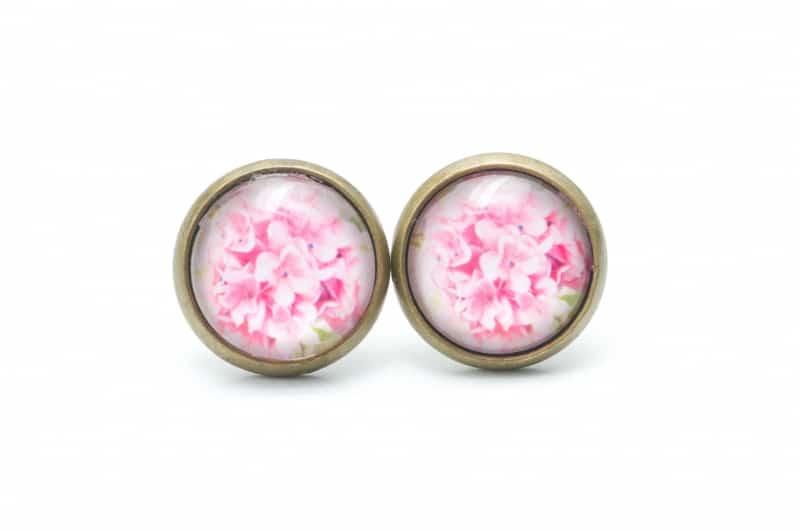 Druckknopf / Ohrstecker / Ohrhänger  rosa Blumenstrauß