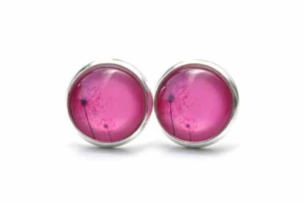 Druckknopf / Ohrstecker / Ohrhänger zwei zarte Pusteblume in Pink