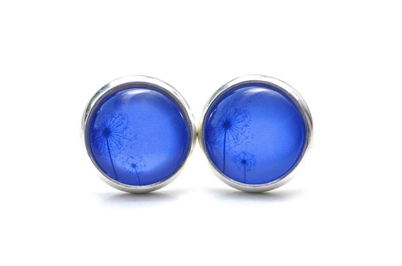 Druckknopf / Ohrstecker / Ohrhänger zwei zarte Pusteblume in kräftigem Blau