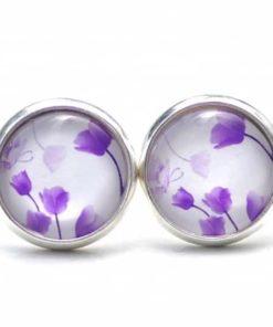 Druckknopf / Ohrstecker / Ohrhänger wunderschöne violette Tulpen