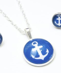 Set Kette mit Ohrringen Anker in Blau