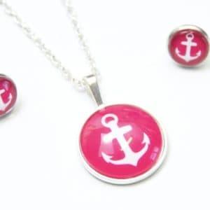 Set Kette mit Ohrringen Anker in Pink/Rosa